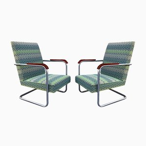 Model FN22 Cantilever Tubular Steel Armchairs by Anton Lorenz for Mucke-Melder, 1930s, Set of 2