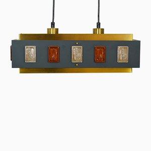Lampada da soffitto in ottone e vetro di Einar Bäckström & Erik Höglund, anni '60