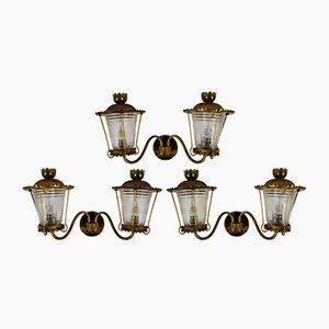 Lámparas de pared italianas vintage, años 40. Juego de 3