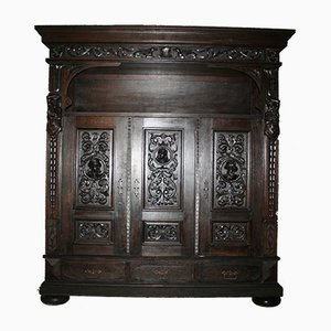 Large Antique German Oak Cupboard