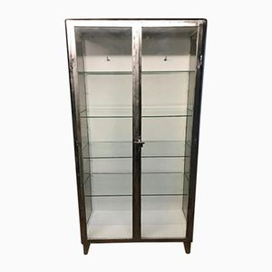 Vintage Industrial Stripped Metal Medical Cabinet