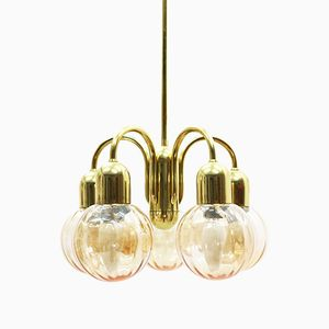 Vintage Brass Chandelier with Tinted Glass Shades, 1970s