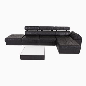 Black Leather Modular DS 88 Sofa from de Sede, 1980s