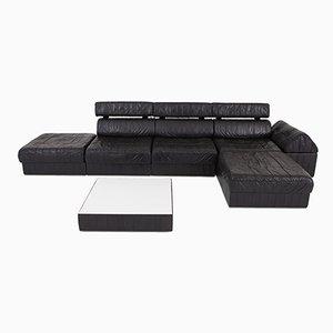 Modulares DS 88 Sofa aus schwarzem Leder von de Sede, 1980er