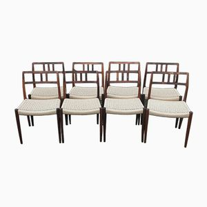 Vintage Rosewood Model 79 Chairs by Niels Otto Moller for J.L. Moller, Set of 8