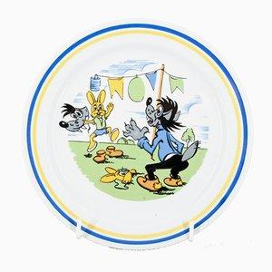 Plato infantil con motivos de liebre y lobo de Colditz, años 70