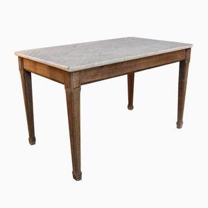 Table Basse Vintage en Marbre et Chêne