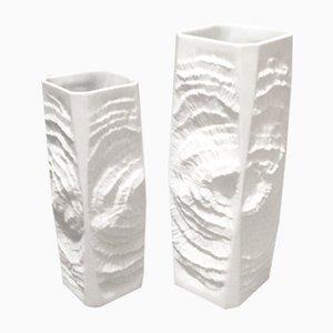 Jarrones Mid-Century de porcelana biscuit de Kaiser, años 60. Juego de 2