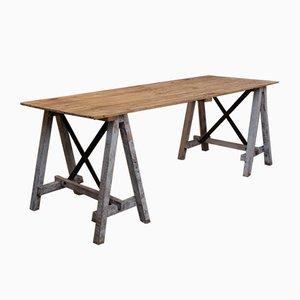 Mesa de taller vintage de madera