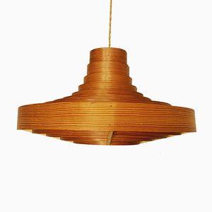Lámpara colgante sueca vintage de listones de madera de Hans Agne Jakobsson