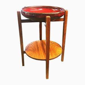 Cuenco danés vintage de cerámica roja con soporte
