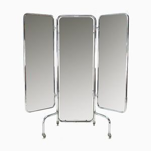 Large Vintage Triptych Folding Mirror, 1950s