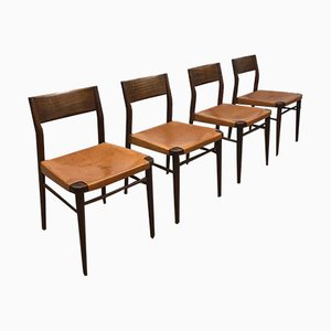 Vintage Teak & Leather Dining Chairs by Georg Leowald for Wilkhahn, Set of 4