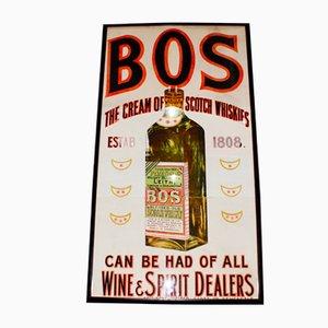 Großes viktorianisches BOS Whiskey Werbeplakat, 1890er