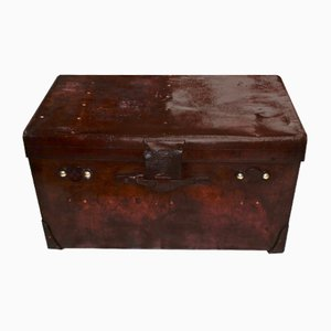 Large Leather Steamer Trunk from House of Finnigan, 1900s