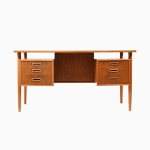 Vintage Danish Teak & Oak Freestanding Desk, 1960s