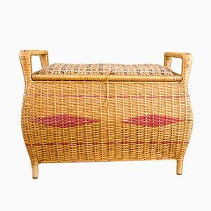 Taburete o arca de madera y mimbre, años 50