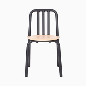 Black Tube Chair with Oak Seat by Mobles114