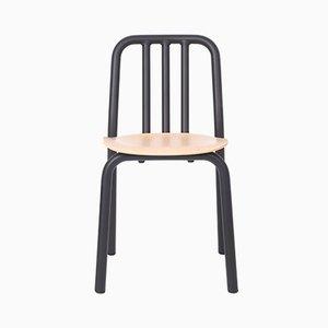 Schwarzer Tube Stuhl mit Sitz aus Eiche von Mobles114