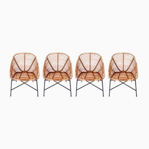 Chaises de Jardin Vintage en Rotin, Set de 4