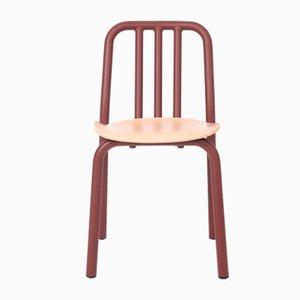 Kastanienbrauner Tube Stuhl mit Sitz aus Eiche von Mobles114