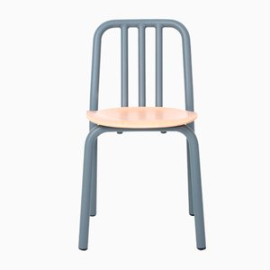 Blue-Grey Tube Chair with Oak Seat by Mobles114