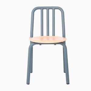 Graublauer Tube Stuhl mit Sitz aus Eiche von Mobles114