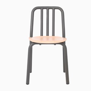 Anthracite Grey and Oak Tube Chair by Mobles114