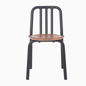 Black Tube Chair with Walnut Seat by Mobles114