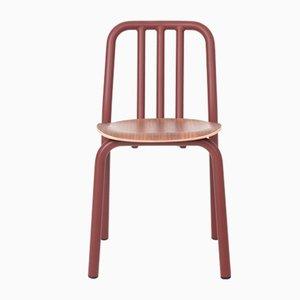 Silla Tube marrón con asiento de nogal de Mobles114
