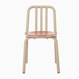 Olivgrauer Tube Stuhl mit Sitz aus Nussholz von Mobles114