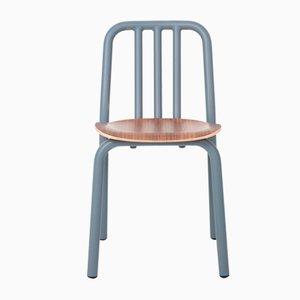 Graublauer Tube Stuhl mit Sitz aus Nussholz von Mobles114