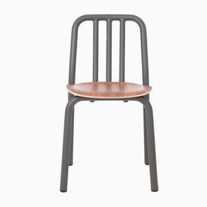 Silla Tube en gris antracita con asiento de nogal de Mobles114