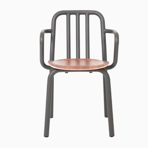 Tube Chair with Grey Anthracite Arms & Walnut Seat by Mobles114