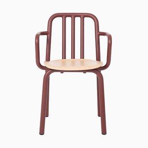 Silla Tube marrón con asiento de roble y reposabrazos de Mobles114