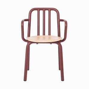 Tube Chair with Chestnut Brown Arms & Oak Seat by Mobles114
