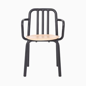 Black and Oak Tube Chair with Arms by Mobles114