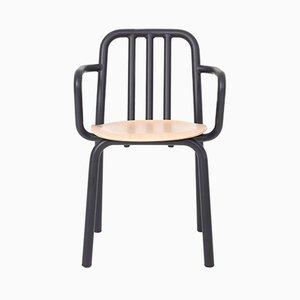 Schwarzer Tube Stuhl aus Eiche mit Armlehnen von Mobles114