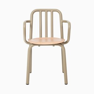 Tube Chair with Olive Green Arms & Oak Seat by Mobles114