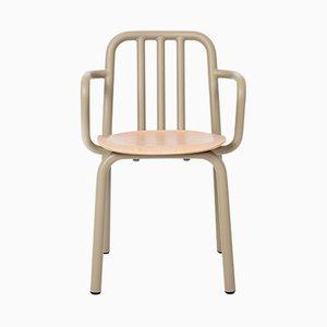 Tube Stuhl mit olivgrünen Armlehnen & Sitz aus Eiche von Mobles114