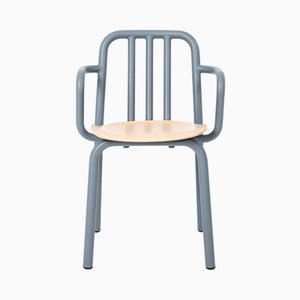 Tube Chair with Blue-Grey Arms & Oak Seat by Mobles114