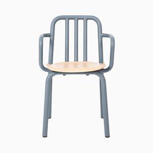 Tube Stuhl mit graublauen Armlehnen & Sitz aus Eiche von Mobles114