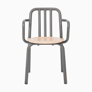 Anthrazitgrauer Tube Stuhl aus Eiche mit Armlehnen von Mobles114