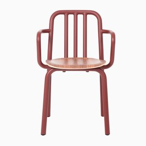 Chestnut Brown and Walnut Tube Chair with Arms by Mobles114