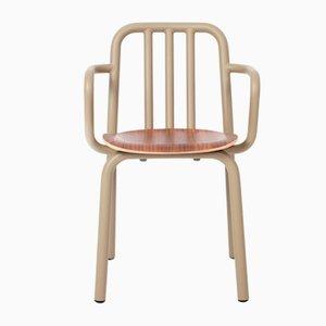 Tube Stuhl mit olivgrünen Armlehnen & Sitz aus Nussholz von Eugeni Quitllet für Mobles114