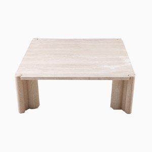 Square Travertine Coffee Table by Gae Aulenti, 1960s