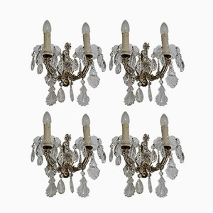 Vintage Italian Crystal Sconces, 1950s, Set of 4