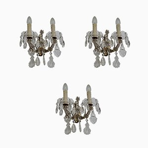 Vintage Italian Crystal Sconces, 1950s, Set of 3