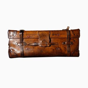 Large Leather Travel Trunk from John Pound, 1860s