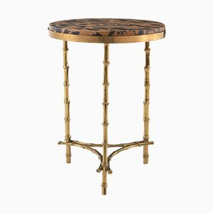 Hollywood Regency Brass & Marble Side Table from Maison Baguès, 1970s